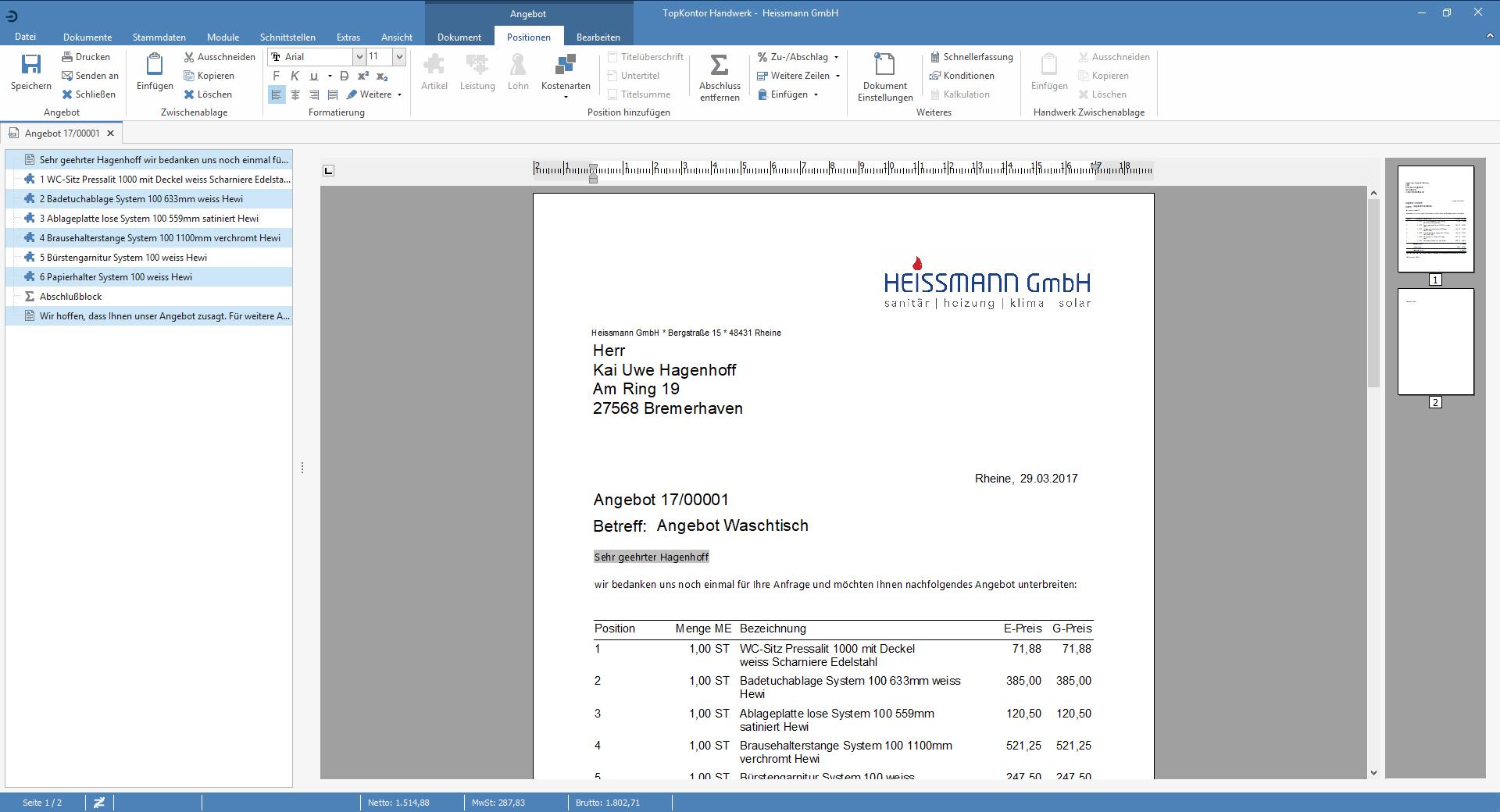 TopKontor Handwerk V6 - Angebot